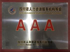 成都公司获2016年四川省人力资源服务等级AAA企业和诚信服务示范单位